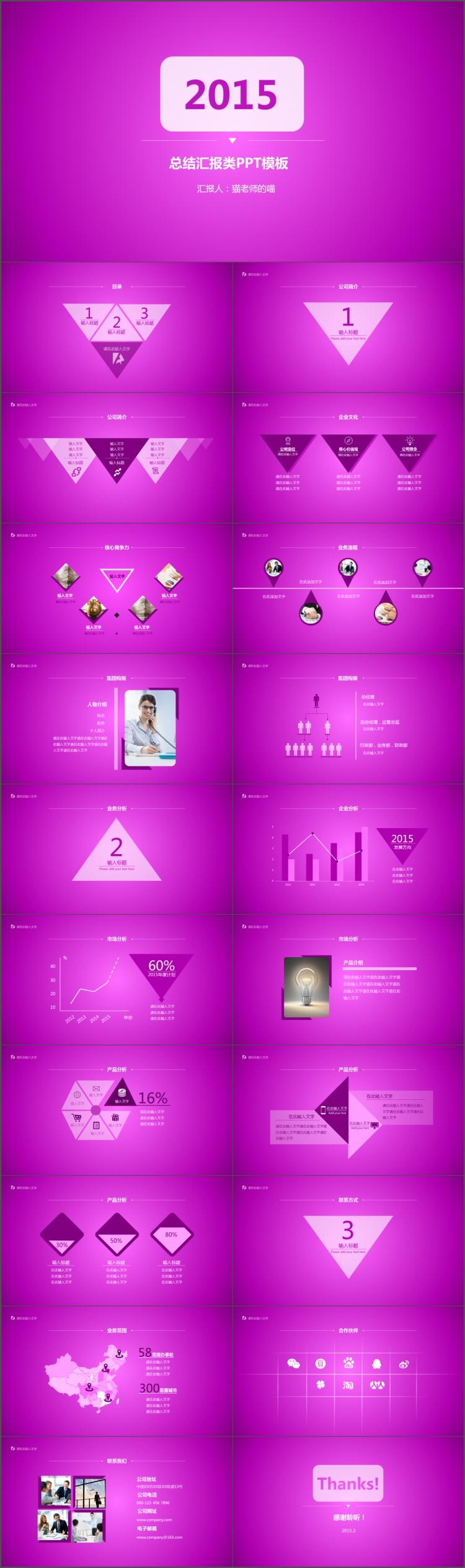简洁紫色商务总结汇报ppt模板